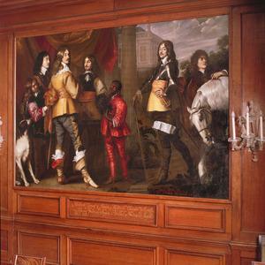 Groepsportret van Willem Frederik van Nassau-Dietz (1613-1664), Hendrik Casimir I van Nassau-Dietz (1612-1640), Hendrik van Nassau-Siegen (1611-1652) en George Frederik van Nassau-Siegen (1606-1674), met bedienden