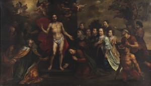De herrezen Christus, aanbeden door een familiegroep in het bijzijn van apostelen en heiligen