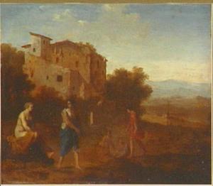 Arcadisch landschap met figuren; op de achtergrond een landhuis