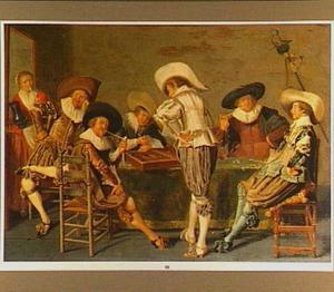 Interieur met zes rokende en triktrak-spelende mannen