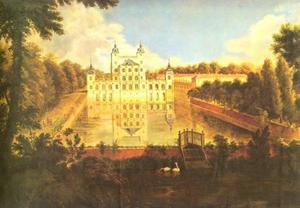 Slot Benrath bij Düsseldorf vanuit het noorden