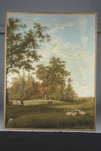 Landschap met schapen in een weide bij een boerderij