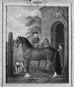 Holsteiner paard, op de achtergrond portret van Otto van Randwijck (1763-1833), heer van Rossum (1763-1833) te paard bij de ingang van zijn manège