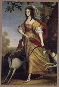 Portret van Louise Hollandine van de Palts (1622-1709) als Diana
