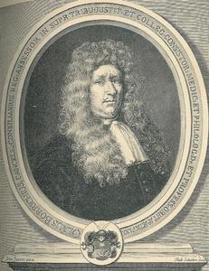 Portret van hofmedicus, botanist en literator Ole Borch (1626-1690) op 64-jarige leeftijd
