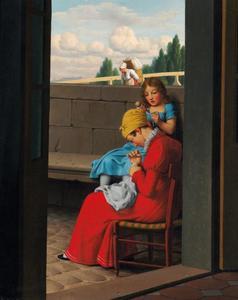 Handwerkende moeder en haar dochtertje met  pop in de hand zittend in de deuropening bij een brug in Parijs