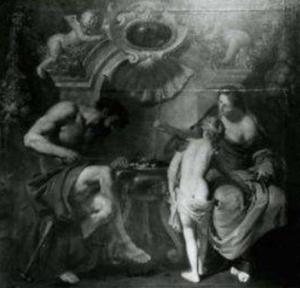 Vulcanus die de pijlen van Cupido smeedt