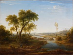 Zuidelijk heuvellandschap met figuren en dieren bij een rivier