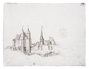 Antwerpen met de Sint-Jorispoort en Sint-Joriskerk van buiten de stadsmuur gezien