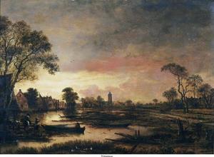 Dorp aan een rivier bij ochtendlicht