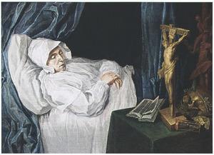 Portret van een overleden vrouw met vanitassymbolen