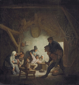 Uitgelaten boeren  in een schuur