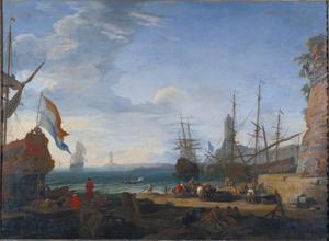 Scène van een zeehaven