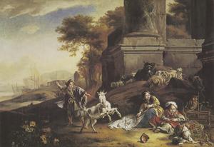 Zuidelijk landschap met drie kinderen (portretten?) voor een ruïne