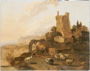 Zuidelijk landschap met herder en zijn kudde bij een vervallen toren