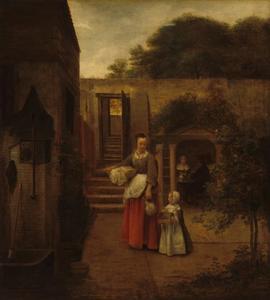 Vrouw en kind op een binnenplaats