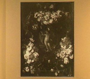 Bloemenkrans rond een voorstelling Johannes de Doper als kind