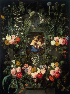Cartouche met bloemen rondom een voorstelling van het Christuskind en de jonge Johannes de Doper