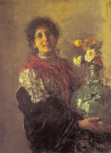 Vrouw met groene vaas