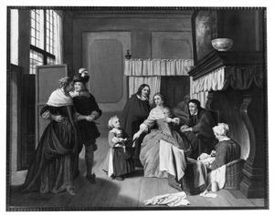 Familie in een interieur: de kraamvisite