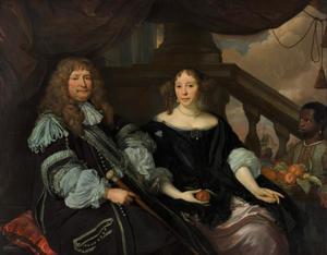 Portret van Jan van Amstel (1618-1669) en Anna Boxhoorn (1642-1726), met een bediende
