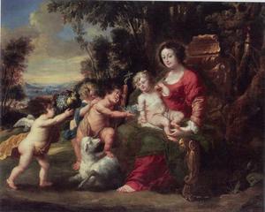 Maria met het Kind en met Johannes de Doper als kind met engelen