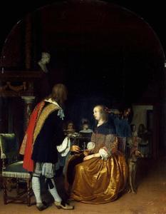 Interieur met een man die een vrouw oesters aanbiedt