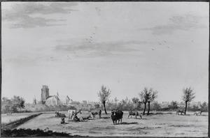 Gezicht op Dordrecht, vanuit het zuid-westen