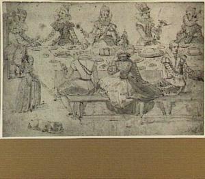 Etende galante figuren aan een lange tafel