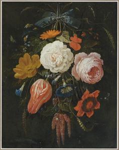 Festoen van bloemen met insecten