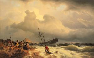 Stranding van een stoomboot op de Hollandse kust met het redden van een drenkeling