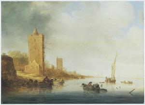 Rivierlandschap met roeiboten bij een toren