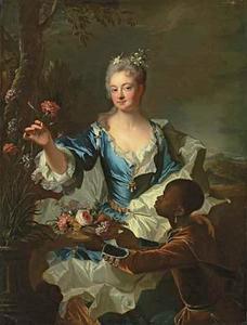 Portret van Hyacinthe-Sophie de Beschamel-Nointel, markiezin van Louville (1689-1756), met een bediende