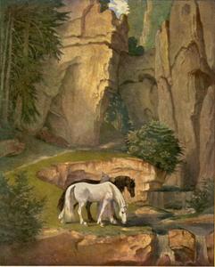 De kluizenaar drenkt de paarden
