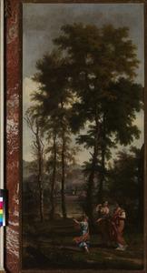 Italiaans boslandschap met drie figuren