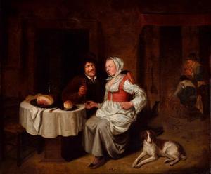 Interieur met een drinkend paar en twee mannen bij het haardvuur
