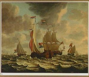 Hollandse zeilschepen op een woelige zee