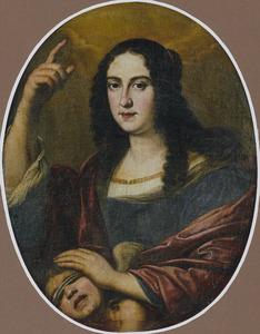 Portret van Vittoria della Rovere (1622-1694), echtgenote van Ferdinand II de' Medici met de geblinddoekte Cupido: allegorie op de aardse en hemelde liefde
