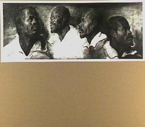 Vier studiekoppen van een zwarte man