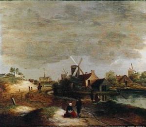 Landschap met dorp aan een rivier