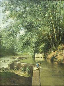 Wassende vrouw aan de rivieroever