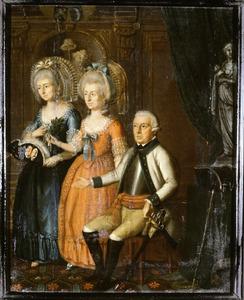 Familieportret van Abraham Nicolaas de la Faille (1716-1793), Theresia Maria de la Faille (?-?) en Hillegonda Bernardina de la Faille (?-?)