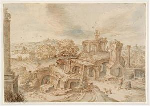 Romeinse ruïnes in een heuvellandschap