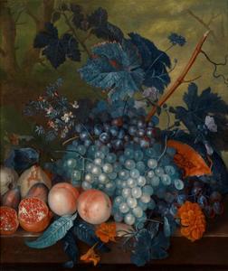 Vruchtenstilleven met enkele bloemen