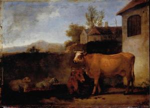 Koeien en schapen bij een boerderij