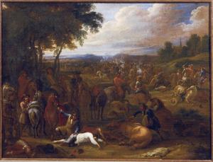 Ruitergevecht aan een bosrand met plunderaars