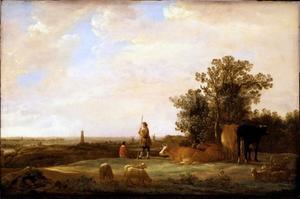 Uitgestrekt landschap met herders en vee, in de verte Rhenen gezien vanuit het oosten