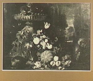 Stilleven van vruchten en bloemen aan de voet van een fontein, links twee konijnen en rechts een aapje