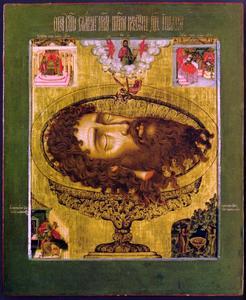 Het hoofd van Johannes de Doper op een schaal