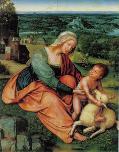Madonna en Kind met een lam in een landschap